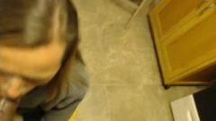Dirty KinkyMilf Stepmom Gags Chokes & Blows Curved Stepsons Big Black Dick In Kitchen