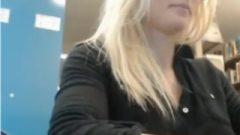 Blonde Webcam In Library