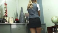Voluptuous Japanese Maid In Miniskirt Suffers From Upskirt Panty Shot At Work!